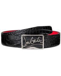 Christian Louboutin Ricky Embossed Leather Belt - Black
