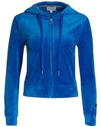 Juicy Couture Velour Zip-up Hoodie - Blue