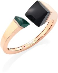 Roberto Coin - Prive Black Jade, Malachite & 18k Rose Gold Bangle - Lyst