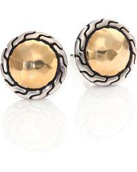 John Hardy - Classic Chain 18k Yellow Gold & Sterling Silver Stud Earrings - Lyst