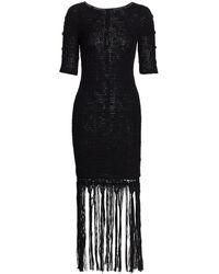 Alejandra Alonso Rojas Hand Knit Silk Fringe Dress - Black