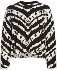 PROENZA SCHOULER WHITE LABEL Animal Print Jacquard Cropped Pullover Sweater - Black