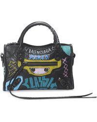 Balenciaga Mini Classic City Graffiti Leather Satchel - Black