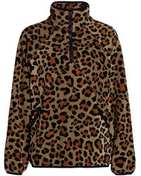 Terez Leopard Quarter-zip Fleece Jacket - Brown
