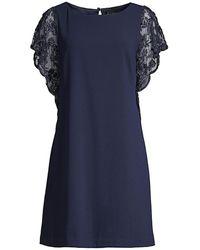 Aidan Mattox Lace Sleeve Trapeze Dress - Blue