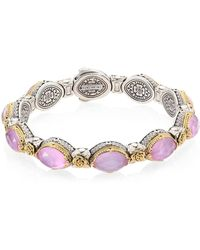 Konstantino | Pink Mother-of-pearl, Quartz Doublet, 18k Yellow Gold & Sterling Silver Bangle Bracelet | Lyst