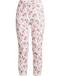 LoveShackFancy Brently Fruity Print Slim Pajama Pants - Pink