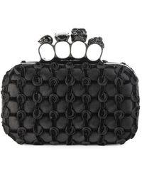 Alexander McQueen Skull Four-ring Rosette Leather Box Clutch - Black