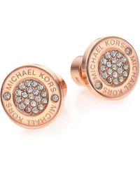 Michael Kors | Heritage Plaque Pavé Logo Stud Earrings/rose Goldtone | Lyst