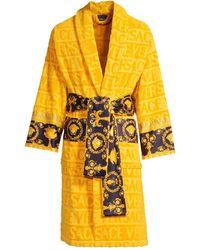 Versace Logo Toweling Baroque Bathrobe - Metallic