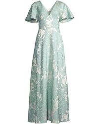 Aidan Mattox Embroidered Flutter-sleeve Gown - Multicolor