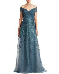 Teri Jon - Off-the-shoulder Embellished Tulle Gown - Lyst