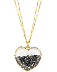 Renee Lewis 18k Yellow Gold & Black Diamond Shake Heart Pendant Necklace - Metallic