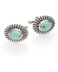 King Baby Studio Turquoise Concho Cuff Links - Blue