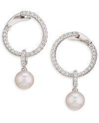 Mikimoto 18k White Gold, Diamond & Pearl Hoop Earrings - Metallic