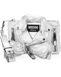 Moschino - Metallic Biker Jacket Shoulder Bag - Lyst