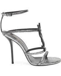 Saint Laurent - Cassandra Metallic Leather Sandals - Lyst