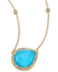 Jacquie Aiche Partial Pavé Diamond, Blue Opal & 14k Yellow Gold Teardrop Necklace