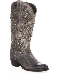 Frye Deborah Mid-calf Western Boots - Gray