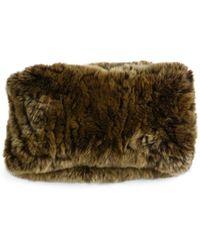 Surell Rabbit Fur Convertible Headband - Brown