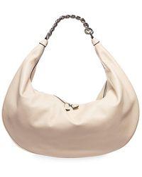 STAUD Sasha Snakeskin-embossed Leather Shoulder Bag - Natural