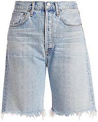 Agolde 90's Mid-rise Loose-fit Raw Hem Denim Shorts - Blue