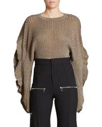 Chloé - Scallop Sleeve Lurex Rib Knit Sweater - Lyst
