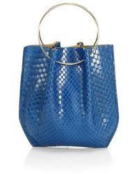 The Row Micro Flat Circle Python Bucket Bag - Blue