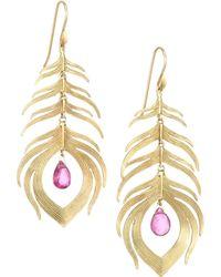 Annette Ferdinandsen Tropical 14k Yellow Gold & Tourmaline Peacock Feather Earrings - Metallic