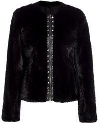 Saks Fifth Avenue The Fur Salon Norman Ambrose For Studded Zip Mink Fur Jacket - Black