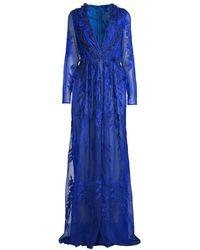 Pamella Roland 3d Floral Lace Gown - Blue