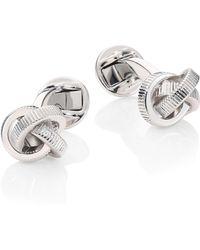 Saks Fifth Avenue Collection Textured Knot Cufflink Set - Metallic