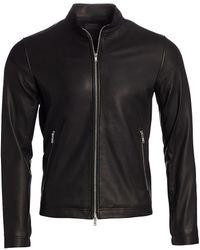 Theory Morveck Leather Bomber Jacket - Black