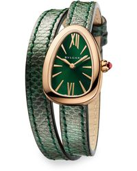 BVLGARI 102782 Serpenti Stainless Steel And Diamond With Karung Leather Bracelet Watch 27mm - Green