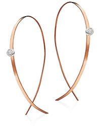Lana Jewelry Upside Down Small Diamond & 14k Rose Gold Flat Hoop Earrings/1 - Metallic
