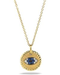 David Yurman - Cable Collectibles Evil Eye Charm Necklace With Blue Sapphire, Black Diamonds, And Diamonds In Gold - Lyst