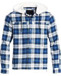 dafd1da9 Madison Supply - Men's Plaid Cotton Flannel Hooded Shirt - Blue White - Lyst