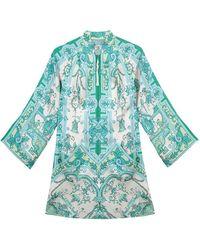 Etro Tree Of Wonders Silk Mini Dress - Green