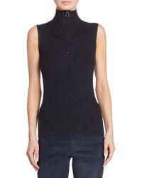 Akris Ribbed Knit Wool & Silk Shell - Black