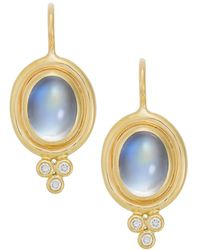 Temple St. Clair Royal Blue Moonstone, Diamond & 18k Yellow Gold Drop Earrings