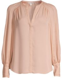 Joie - Women's Aban Embroidered Collarless Blouse - Pink Sky - Size Large - Lyst