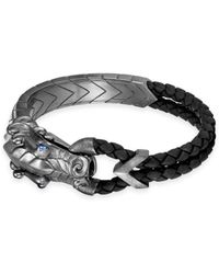 John Hardy - Legends Naga Silver & Leather Corded Sapphire Dragon Bracelet - Lyst