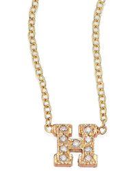 Zoe Chicco Pavé Diamond & 14k Yellow Gold Initial Pendant Necklace - Metallic