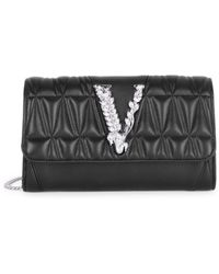 Versace Virtus Quilted Leather Wallet-on-chain - Black