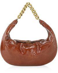 STAUD Sasha Snakeskin-embossed Leather Shoulder Bag - Brown