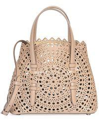 Alaïa Small Mina Perforated Leather Tote - Natural