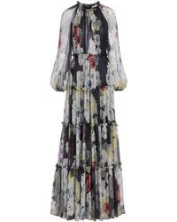 Jason Wu Small Peony Printed Crinkle Chiffon Gown - Blue