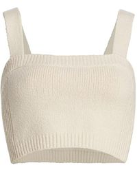 A.L.C. Winona Rib-knit Cropped Top - Natural