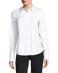 Lafayette 148 New York Linely Italian Stretch Cotton Blouse - White