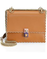 72554a276e0f Fendi - Women s Mini Kan Scalloped Leather Bag - Camelia - Lyst